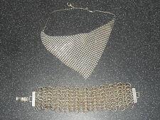 VECCHIO tono argento collana girocollo Mesh & Cotta di Maglia Girocollo Bracciale Gioielli