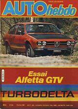 AUTO HEBDO n°223 10/07/1980 GP FRANCE ALFA GTV TURBODELTA