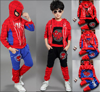 3pcs Toddler Infant Kids Boys Hooded Vest+Tops+Pants Clothes Sets Spider-man