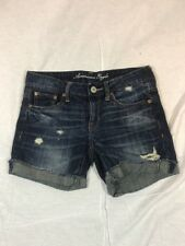 Women's American Eagle Distress Medium Wash Bermuda Jean Shorts Size 0