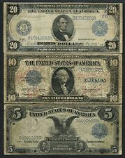 (3) DIFFERENT $5, $10, $20 -- RAISED NOTES -- VERY RARE WLM3634