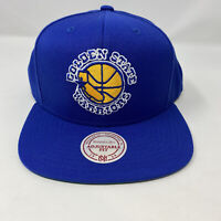 Golden State Warriors Mitchell & Ness NBA Snapback Hat Cap Blue Throwback Logo