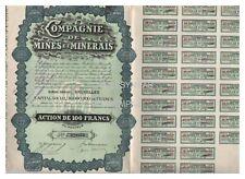ACTION  100 FR COMPAGNIE DE MINES ET MINERAIS BELGIQUE 1928 (réf 1)