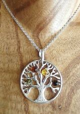 Sterling Silver and Mixed Amber Tree of Life Necklace