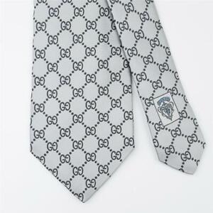 GUCCI TIE Gray GG Guccissima on Light Blue Classic Woven Silk Necktie