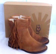 UGG LAYNE CHESTNUT WATER RESISTANT SUEDE FRINGE ANKLE BOOTS US5.5 New In Box