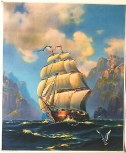 Mystical Sailing Priate Ship - artist R. Atkinson Fox?