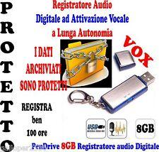 PENDRIVE 8GB REGISTRATORE ATTIVAZIONE VOCALE DIGITALE AUDIO BLOCCO LETTURA DATI