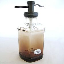 NEW BELLA LUX CLEAR FADES TO BROWN,OMBRE+BRASS GLASS SOAP+LOTION DISPENSER