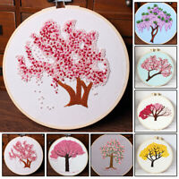 Tree Embroidery Starter Cross Stitch Kit Set Threads DIY Craft Home Decoration