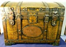 1970's 3/4 Size Korean Antique Styled Domed Leather Treasure Chest Or Trunk