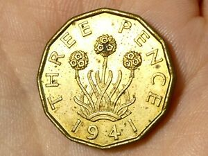 1941 British George VI Threepence Coin From Set  #EE32