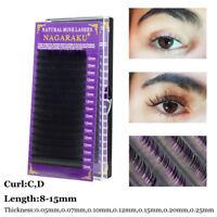 Mink Hair Lash Grafting Extension C/D Curl False Eyelashes Individual Lashes~