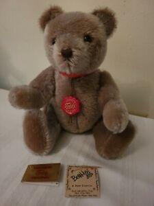 """No-No"" Vintage 13in Hermann Teddy Original Caramel Mohair Bear Moving Head/Tail"