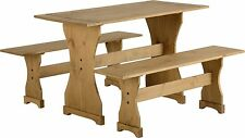 CORONA MEXICAN STYLE DISTRESSED ANTIQUE PINE DINETTE SET WITH TWO BENCHES