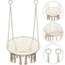 Cotton Hanging Rope Hammock Chair Swing Round Indoor Outdoor Home Garden Patio