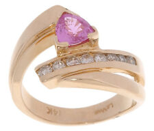 Levian 14K Yellow Gold Pink Sapphire & Diamond Cocktail Or Right Hand Ring