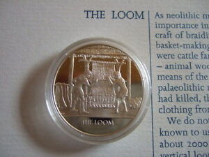 THE LOOM MANKIND INVENTIONS HALLMARKED SILVER PROOF MEDAL BY JOHN PINCHES