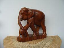 Elefanten Figur mit Kind aus echtem Holz, Gr.40x38x17 Cm