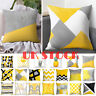 18''Geometric Yellow Cushion Cover Home Sofa Decor Square Pillow Cases Throw UK