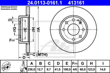 2x Bremsscheibe für Bremsanlage Vorderachse ATE 24.0113-0161.1