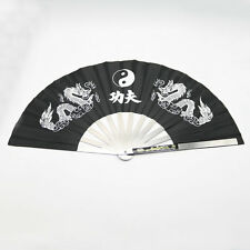 "13"" Chinese Kung Fu Martial Arts Tai Chi Dragon Stainless Steel Frame Fan Black"