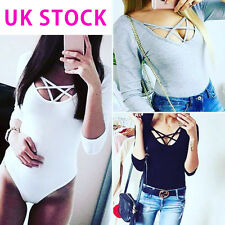 Womens Ladies Bardot Frill V Neck Strappy Plunge Bodysuit Stretch Party Top UK