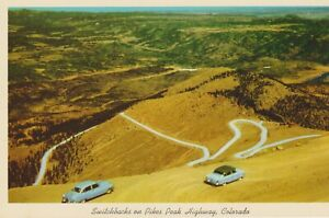 Postcard View of Switchbacks on Pikes Peak Hwy, Colorado -   old autos - Mint