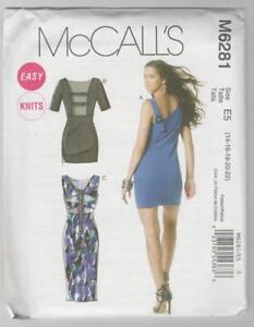 McCalls Sewing Pattern M6281 Miss Easy Knit Fabric Dress Sz 14-22