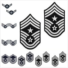 U.S. AIR FORCE CHEVRON BLUE AND SILVER EMBROIDERED ENLISTED RANK - SMALL SIZE
