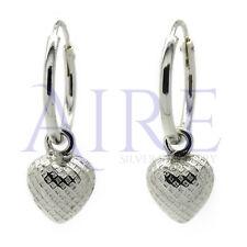 Sterling Silver Sleeper Hoop Earrings with Engraved Dangling Heart