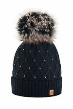 Women Winter Beanie Hat Knitted CRYSTAL Ladies Fashion Large Pom Pom Gifts