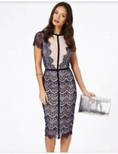 New Ladies/Teen/Girls Missguided Navy/Nude Lace Midi Wedding Guest Dress Size 6