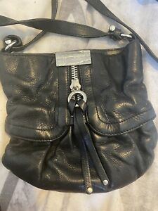 Jimmy Choo For H&M Black Crossbody Bag Black Leather Biker Style