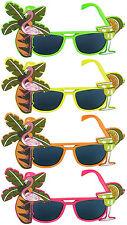 4 x Hawaiian Flamingo Glasses Sunglasses Neon Tropical Beach Fancy Dress Party