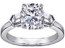 1.38 Carat Total Weight Cushion Cut Diamond Engagement Ring with Bullet Diamonds