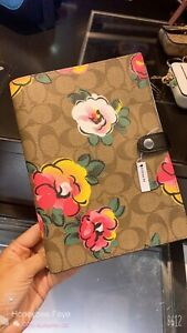 NWT Coach Notebook In Signature Canvas With Vintage Rose Print Count 1