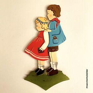 🚬 Märchen-Holzbild ALT 1960er 22cm Blumenkranz-Gretel DDR Kinderzimmer Deko