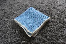 Handmade Crochet Small Baby Blanket Blue & White