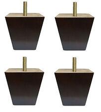 "3"" Dark Walnut Tapered Pyramid Sofa/Couch/Chair Wood Legs [5/16"" Bolt] Set of 4"