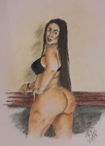 Framed Art: Original 8x10 color pencil drawing of nude woman done by ARTuro