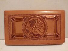 Vintage GAITAN Hand Tooled GENUINE LEATHER MEXICO Checkbook Wallet