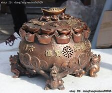 Chinese Bronze Copper Fengshui Yuanbao Wealth Money lucky Incense Burner Censer