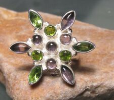 925 sterling silver tourmaline & cut peridot ring UK O-O½/US 7.5. Gift bag.