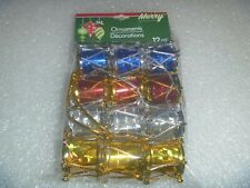 "12 Very Tiny Shiny Christmas Drum Set Ornaments ""New"" By Merry Christmas House"