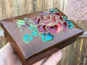 Antique Japanese ANDO JUBEI Arts & Crafts Copper Enameled Trinket  Box & Cover