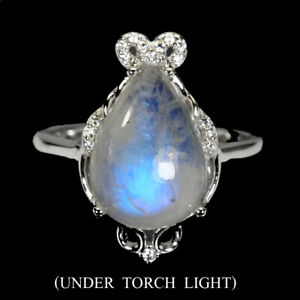Unheated Pear Moonstone 14x10mm White Cz 925 Sterling Silver Ring Size 7.5