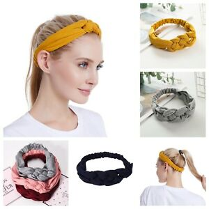 Twist Knot Plaited Headband Hair Band Solid Colours Cotton Elasticated Sports 13