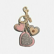 COACH Studded HEART Applique Leather Pink Bag Charm Key Ring Fob F40696 NWT $80+