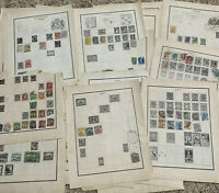 WORLDWIDE STAMP LOT ON ALBUM PAGES, STAMPS FROM 25 WW COUNTRIES (NO U.S.)